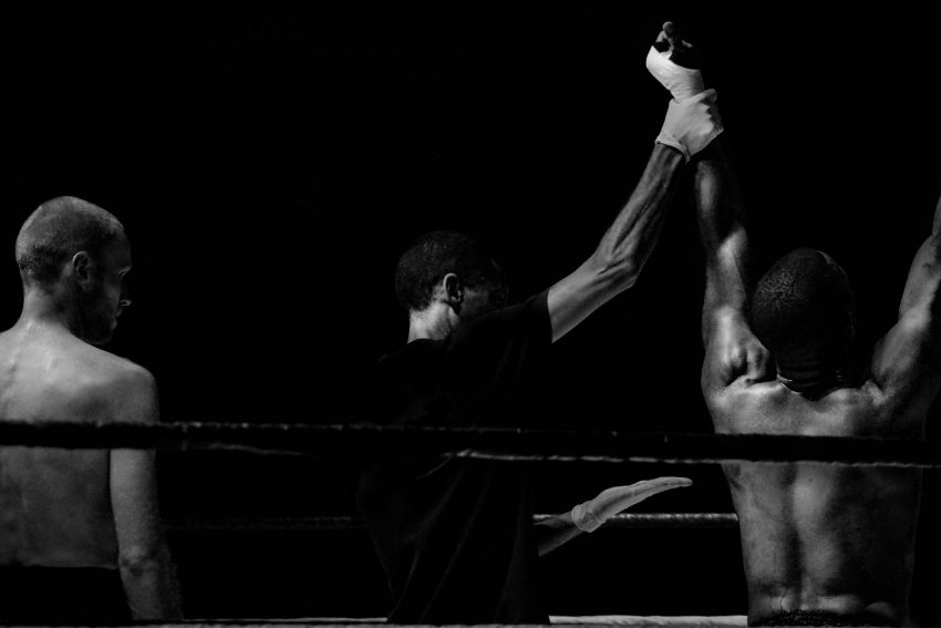 black and white fight